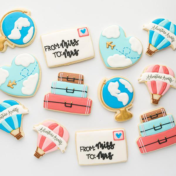 Travel Bridal Shower Cookies